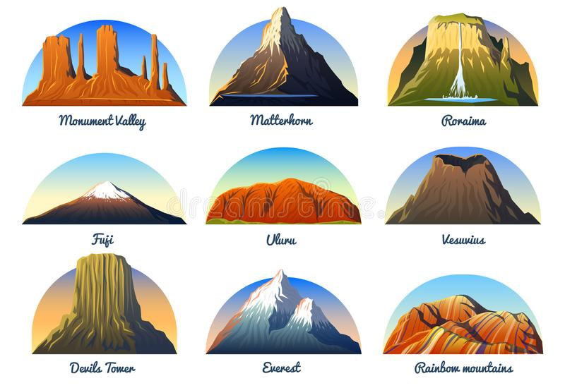Mountains Peaks, landscape early in a daylight, big set. monument valley, matterhorn, roraima, fuji or uluru, vesuvius. Devils tower, everest or rainbow stock illustration