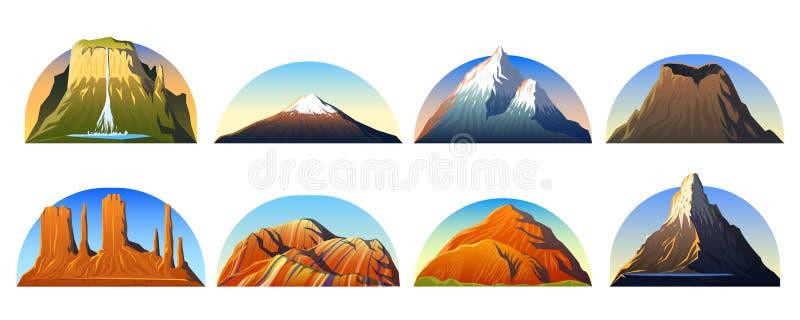 Mountains Peaks, landscape early in a daylight, big set. monument valley, matterhorn, roraima, fuji or vesuvius, devils stock illustration