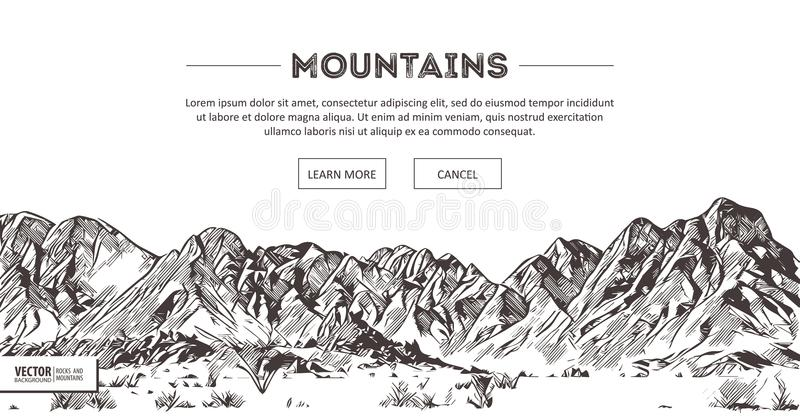 Mountains ranges. Nature sketch. Spiky mountain landscape sketch hand drawing, in engraving etching style, for extreme vector illustration