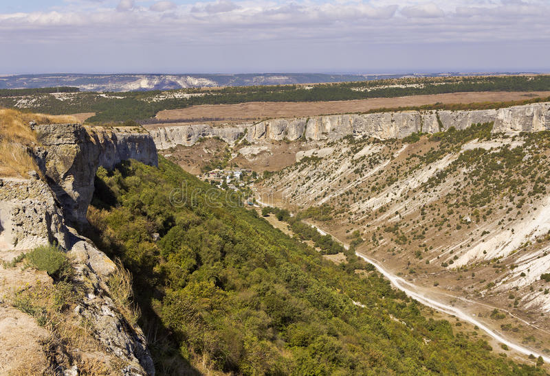 Mountains and ravines in the vicinity of Bakhchisarai. Crimea stock photo