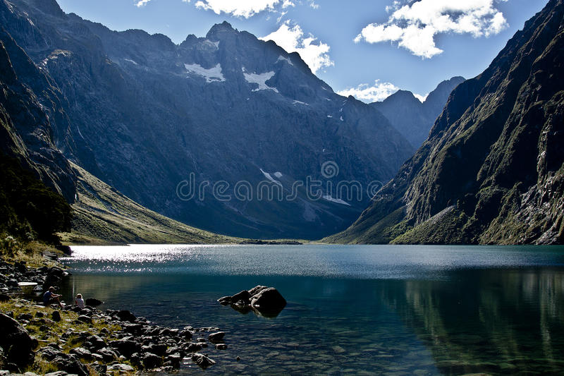 Mountains reflected in the lake stock photo