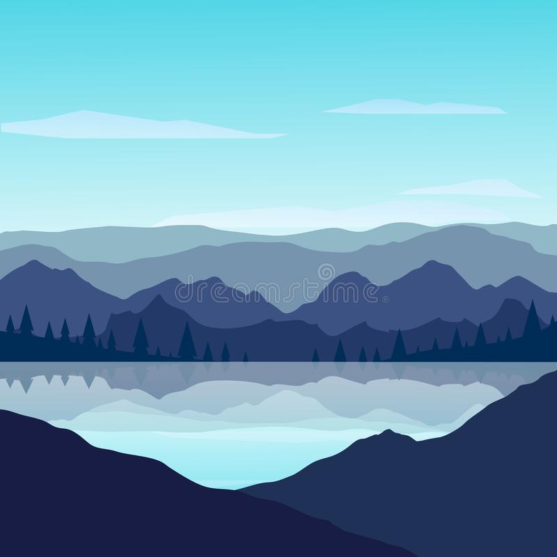 Mountains with reflection in the lake on sunny day. Vector Illustration royalty free illustration