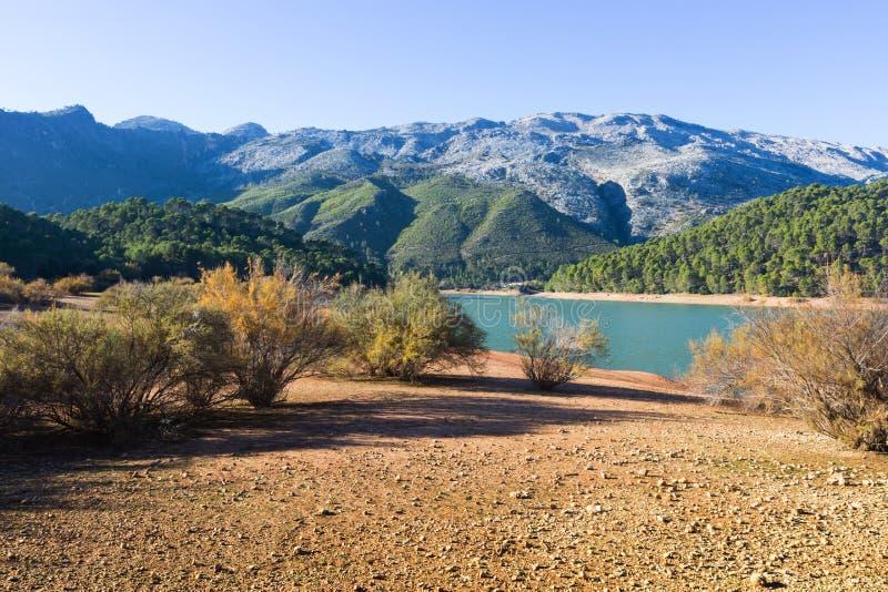 Mountains river with island. Isla Cabeza de la Vina - Guadalquivir river royalty free stock image
