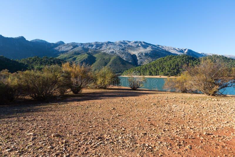 Mountains river with island. Isla Cabeza de la Vina - Guadalquivir river, Andalusia royalty free stock photo