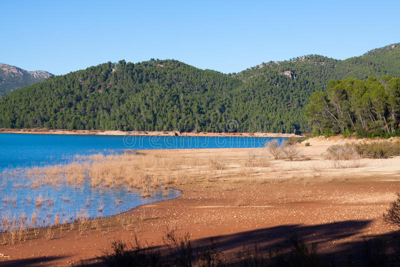 Mountains river. With island. Isla Cabeza de la Vino - Guadalquivir river, Andalusia, Spain stock image