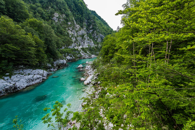 Mountains river Soca in Julian Alps, Slovenia.  stock image