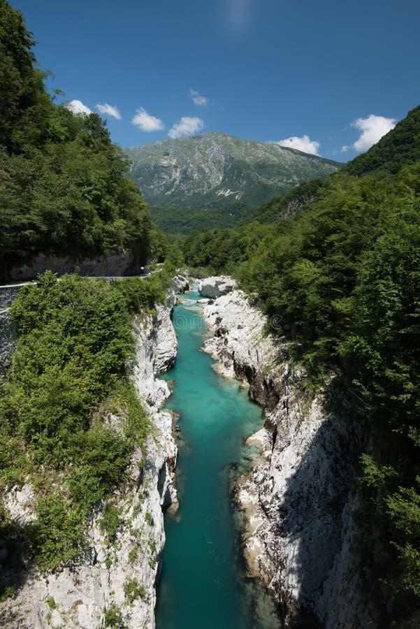 Mountains river Soca in Julian Alps, Slovenia.  royalty free stock image