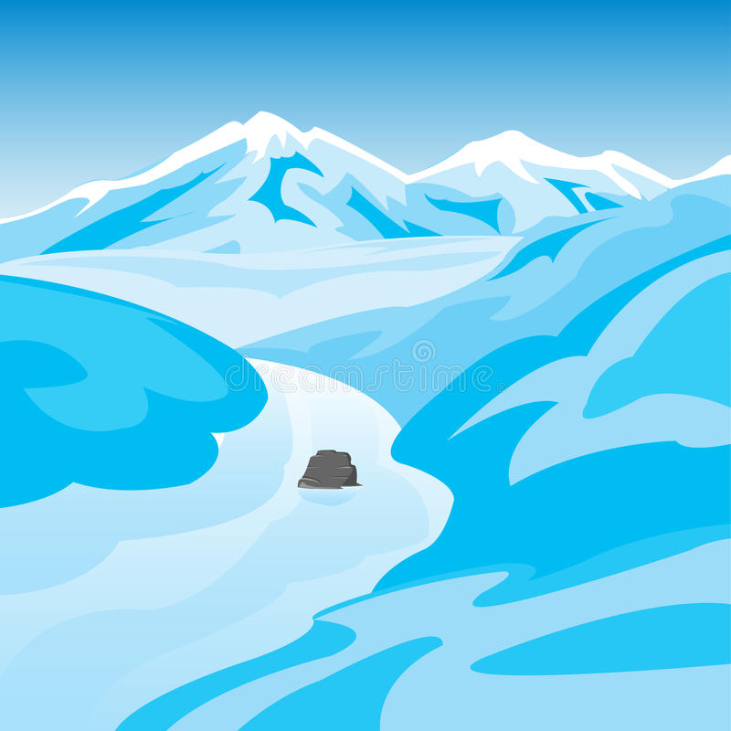 Mountains and river in winter royalty free illustration