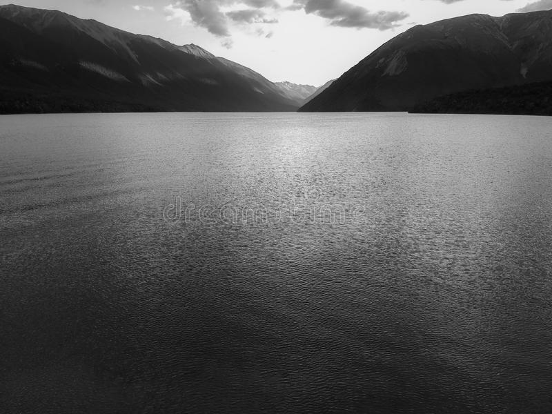 Mountains and rivers, a black and white photo. View of nature and the vast with the emotions that feel lonely alone stock image