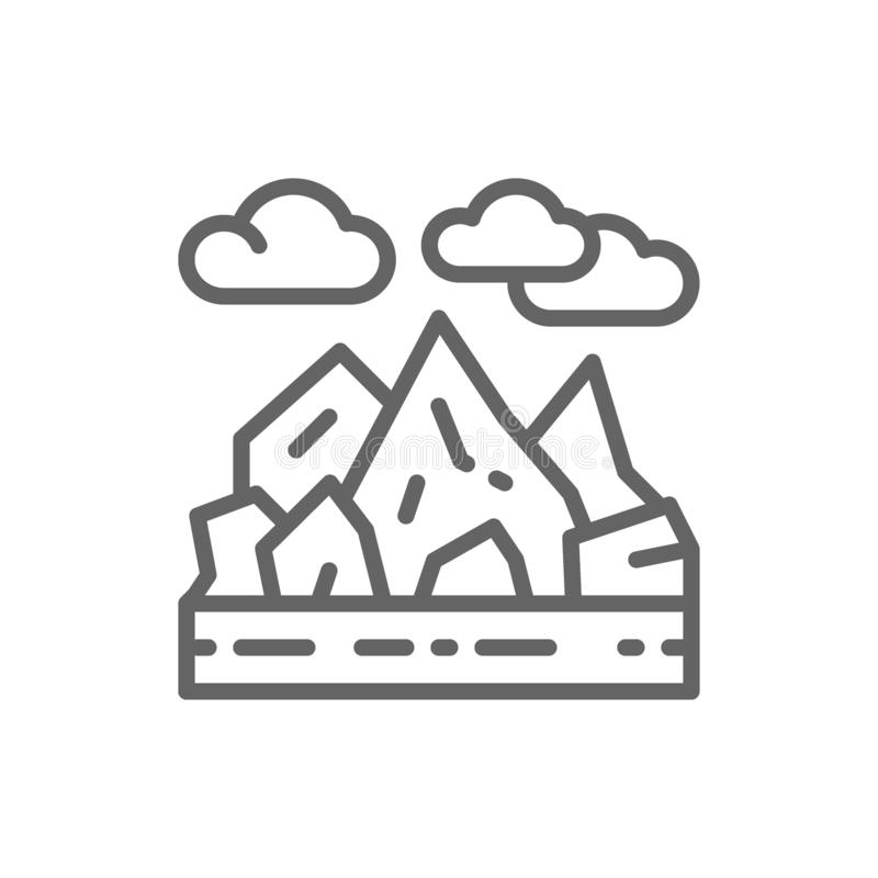 Mountains and rocks landscape line icon. stock illustration