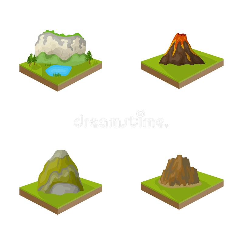 Mountains, rocks and landscape. Relief and mountains set collection icons in cartoon style isometric vector symbol stock. Illustration royalty free illustration