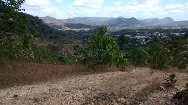 Mountains of San Juan de los Morros, Venezuela. Nature landscape by a national park trail in San Juan, Guarico, Venezuela, South America royalty free stock image