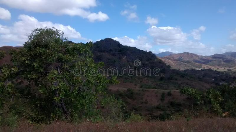 Mountains of San Juan de los Morros, Venezuela. Nature landscape by a national park trail in San Juan, Guarico, Venezuela, South America royalty free stock images