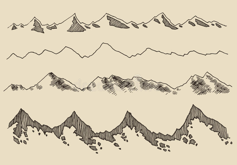 Mountains set contours Engraving Vector Hand Draw. Mountains contours of the mountains engraving vector illustration hand drawn sketch vector illustration