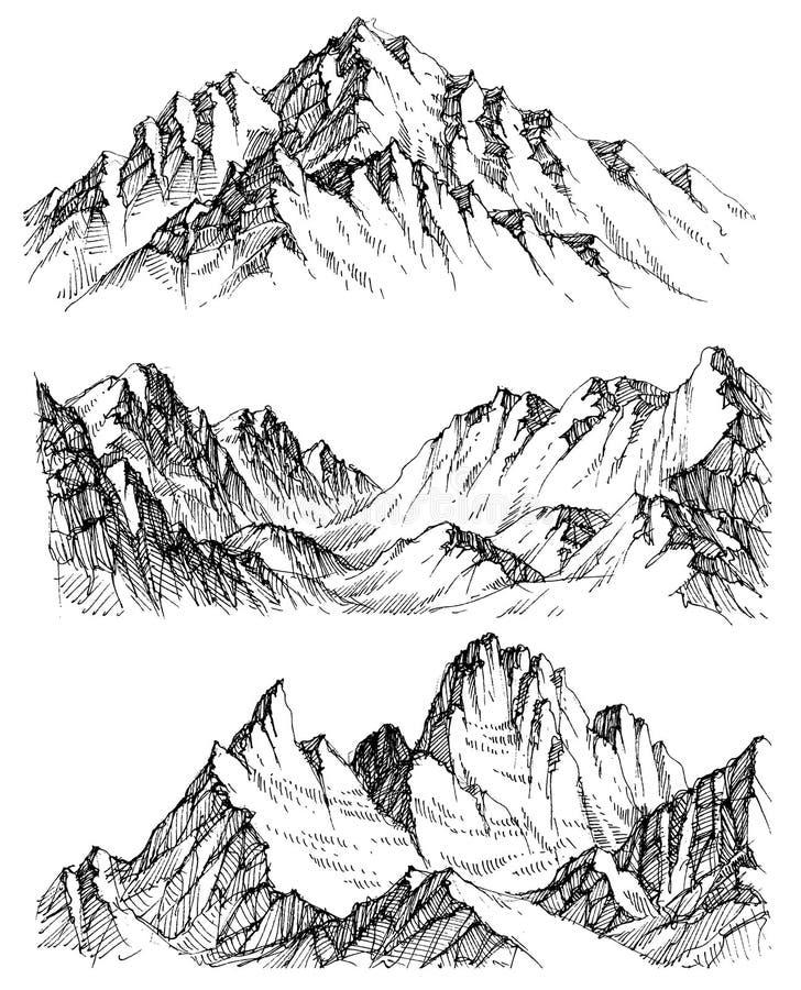 Mountains set royalty free illustration