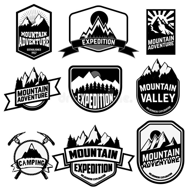 Mountains stock vector. Illustration of retro, hipster - 62377826