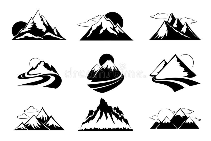 Mountains silhouettes vector illustration. Mountain set for outdoor leisure hiking travel royalty free illustration