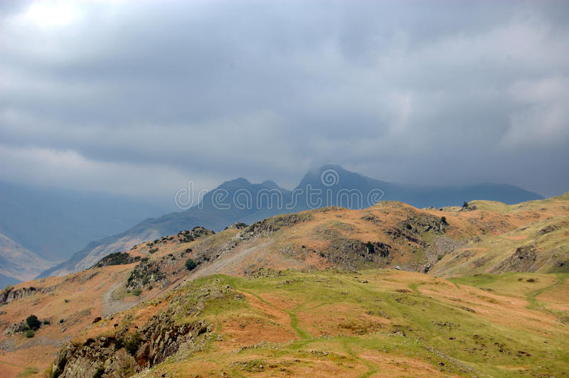 Mountains from Silver How. Mountains panorama from Silver How, Lake District, England stock photography