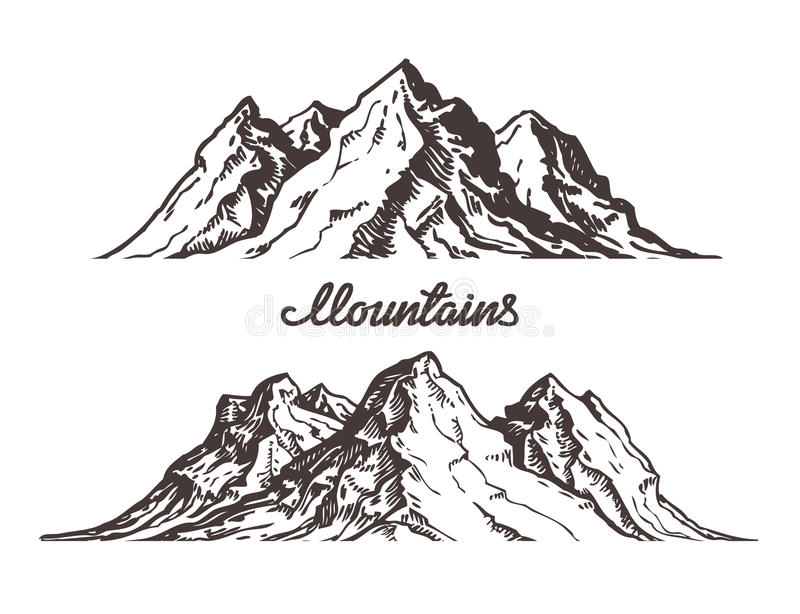 Mountains sketch. Hand drawn vector illustration stock illustration