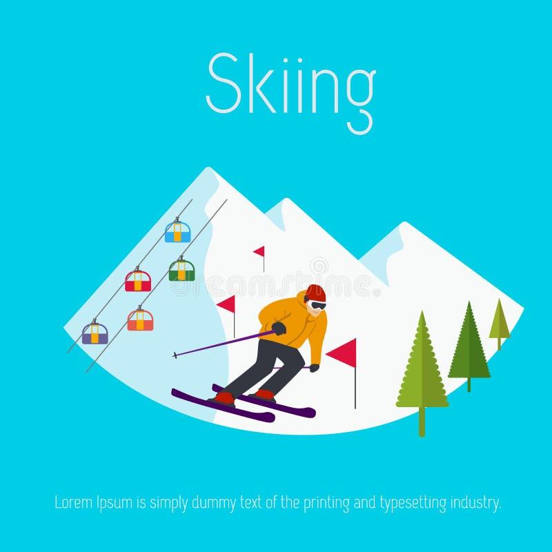 Mountains ski resort cable cars trees skier. Flat design vector illustration