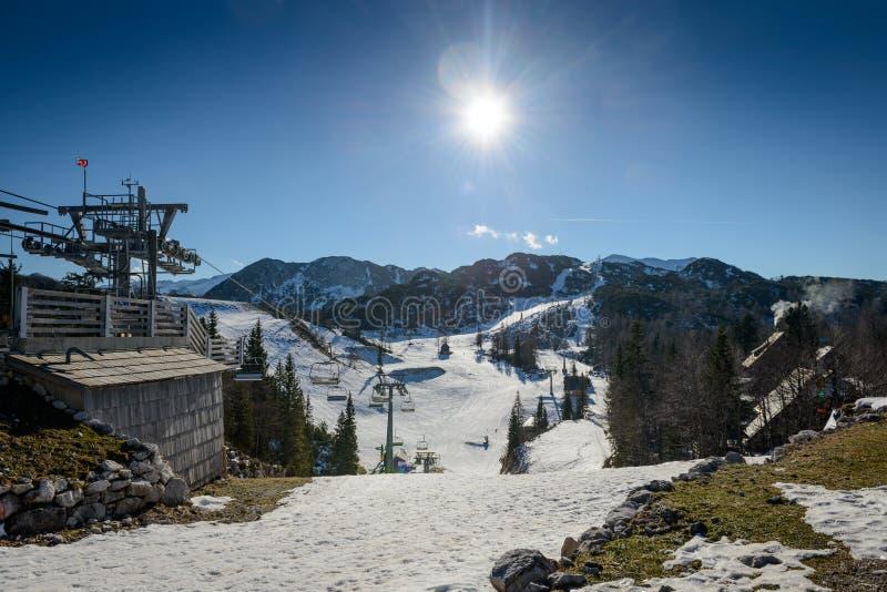 Mountains. Ski slopes of Vogel, Triglav natural park, Julian Alps, Slovenia, Europe royalty free stock photography