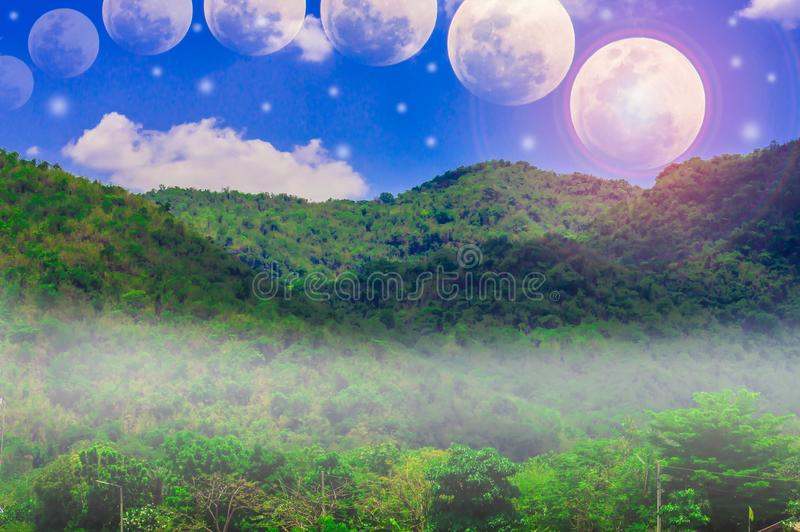 Mountains, sky and clouds, moon and stars. Mountains, sky and clouds, moon and stars, with abstract concepts of nature and the universe stock images