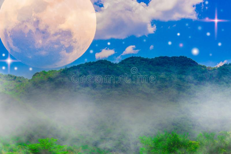 Mountains, sky and clouds, moon and stars. Mountains, sky and clouds, moon and stars, with abstract concepts of nature and the universe stock image