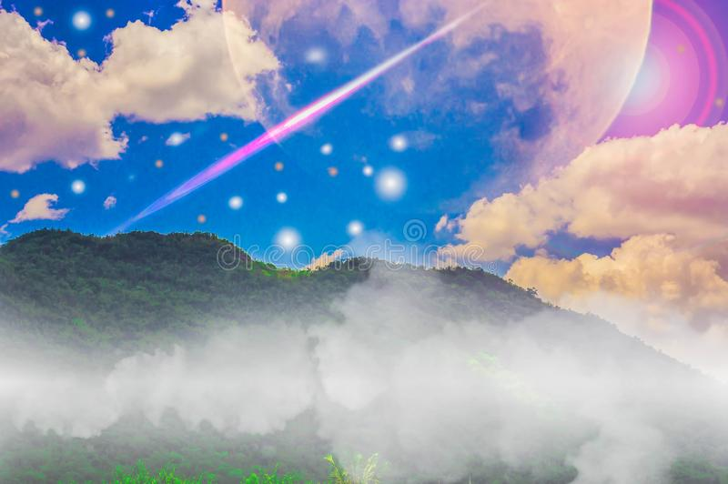 Mountains, sky and clouds, moon and stars. Mountains, sky and clouds, moon and stars, with abstract concepts of nature and the universe royalty free stock photo