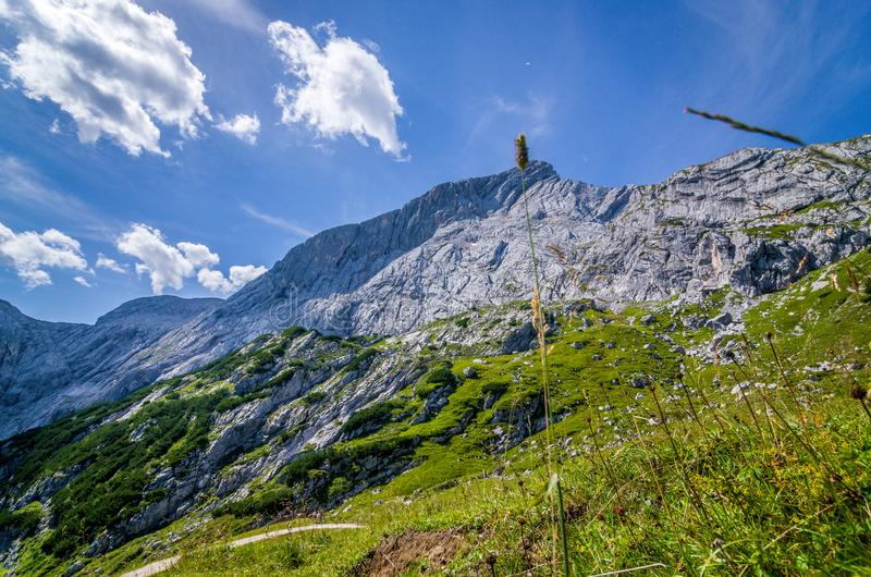 Mountains and sky seen from the trekking trails, German Alps royalty free stock photography