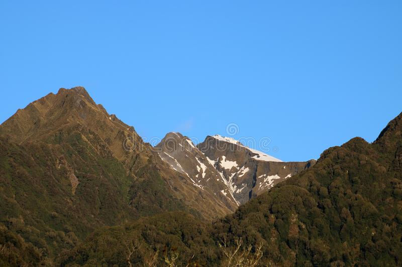 Mountains, snow covering Southern Alps New Zealand royalty free stock photos