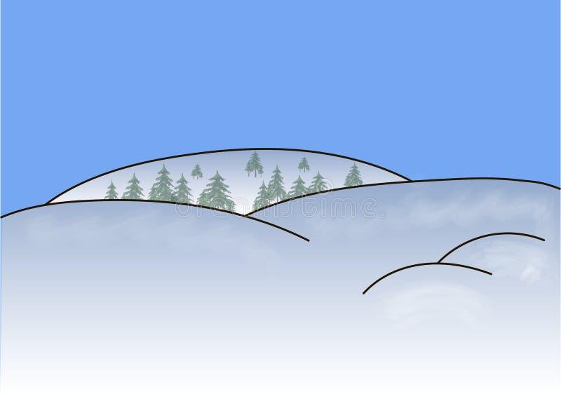 Mountains snow trees,. Mountains snow trees snowy field. Christmas tree stock illustration