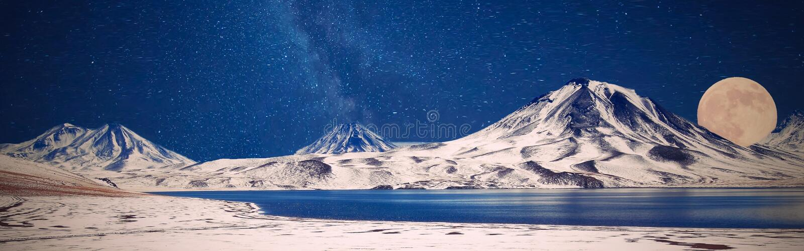 Mountains Snow Winter Full Moon royalty free stock photo