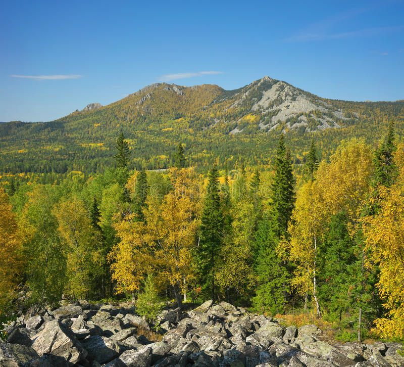 Mountains of Southern Ural. Russia, South Ural. Golden Autumn on TAGANAY stock image