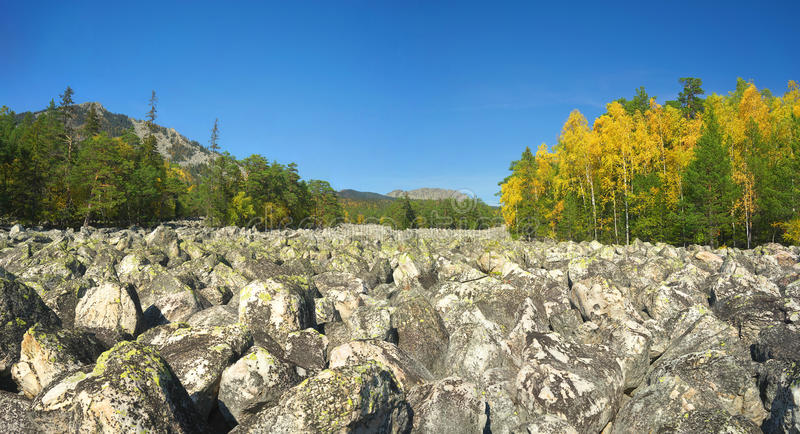 Mountains of Southern Ural. Russia, South Ural. Golden Autumn on TAGANAY royalty free stock photo