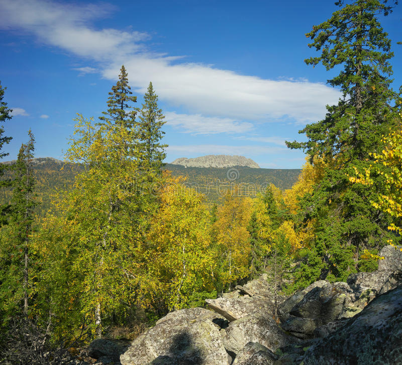 Mountains of Southern Ural. Russia, South Ural. Golden Autumn on TAGANAY stock photography