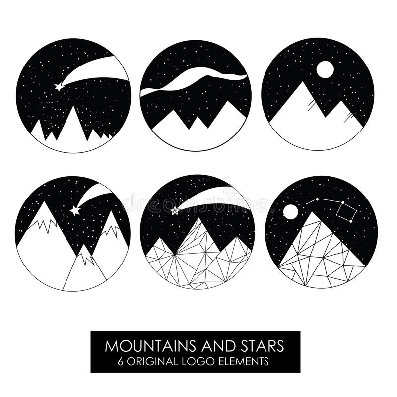 Mountains and stars. High quality original logos. vector illustration