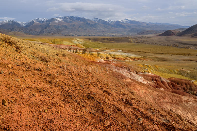 Mountains steppe desert color. The picturesque steppe desert landscape with multicolored mountains, cracks in the ground and sparse vegetation on the background stock photo