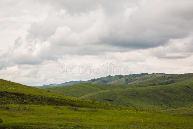 In the mountains before the storm. Mountain landscape in anticipation of thunderstorms stock photo