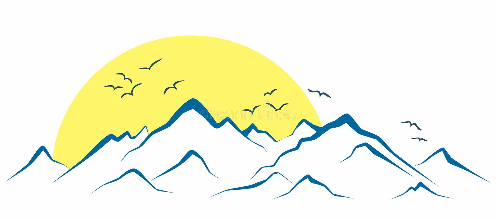 Mountains from the sun dawn. vector illustration