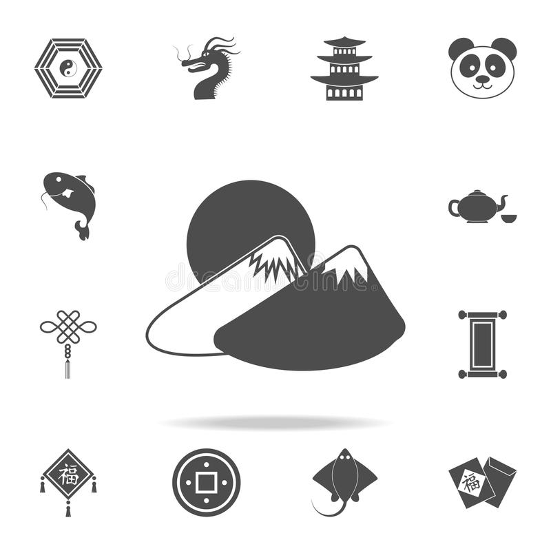 Mountains and sun icon. Set of Chinese culture icons. Web Icons Premium quality graphic design. Signs and symbols collection, simp royalty free illustration