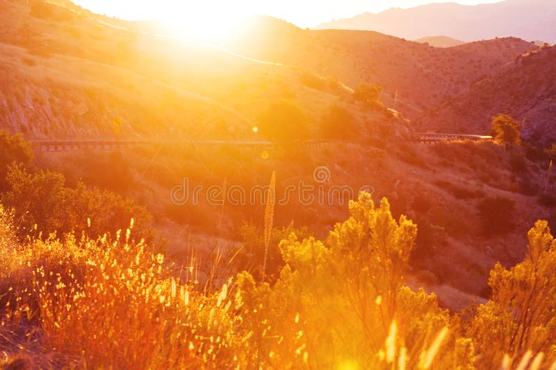 Mountains in sunrise royalty free stock images