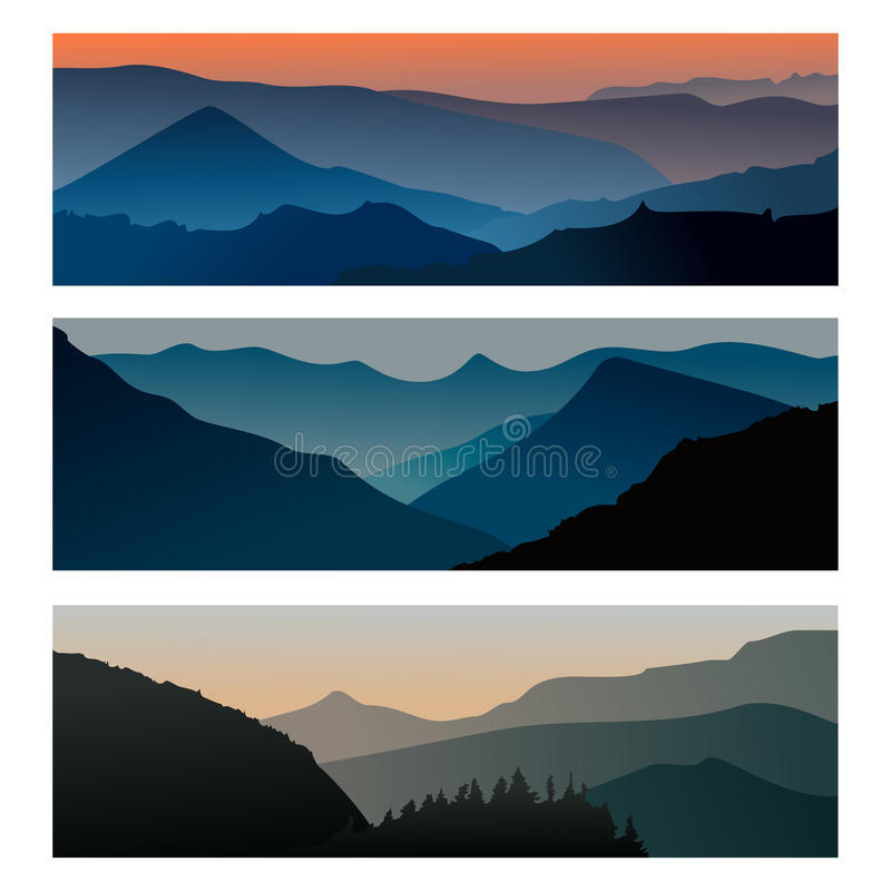 Mountains sunrise and mountains sunset horizontal banner. Travel mountain landscape. Vector illustration royalty free illustration