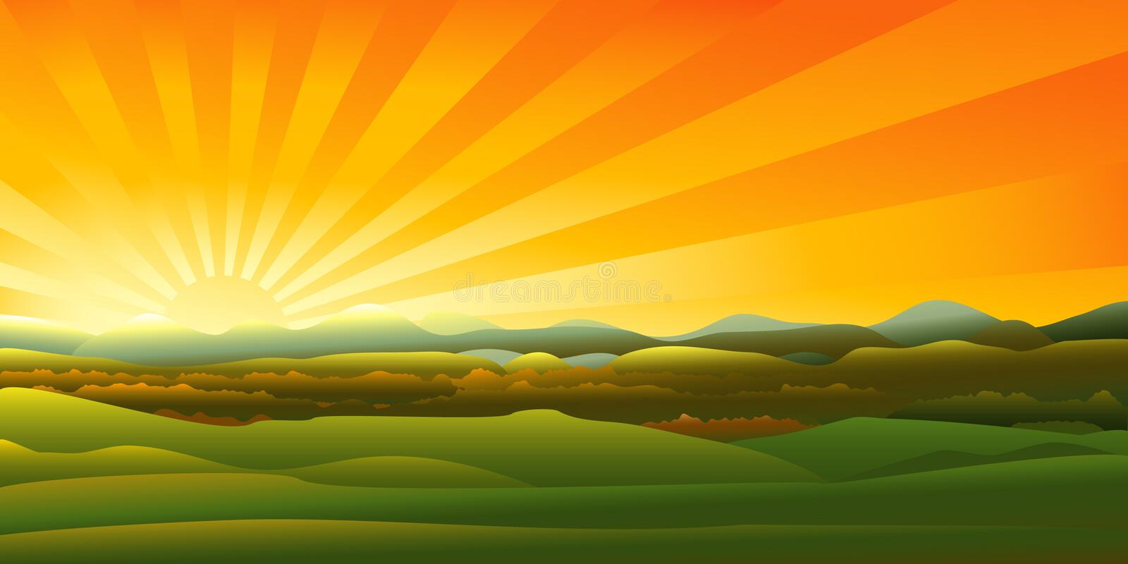 Mountains Sunset Landscape Royalty Free Stock Photography