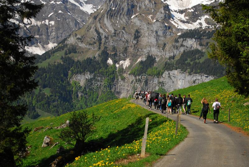 Mountains in Switzerland during May stock image