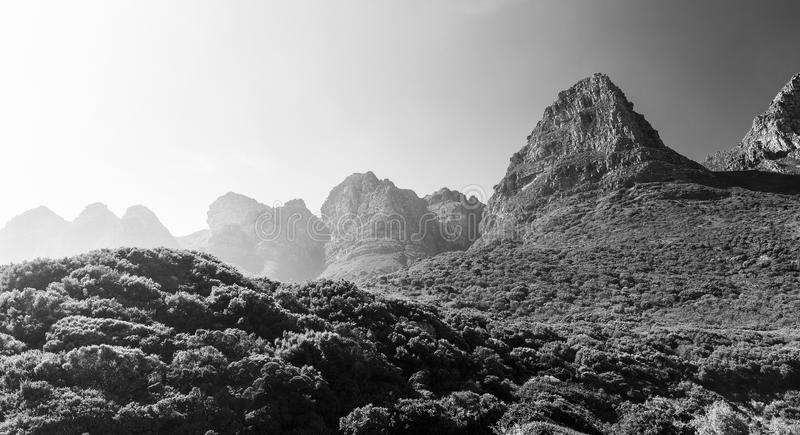 Table Mountain National Park Black and White. Mountains of Table Mountain National Park in Cape Town, South Africa in black and white royalty free stock photo