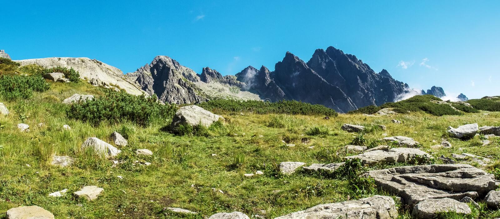 Mountains, Tatra Mountains, Slovakia. Panorama royalty free stock image