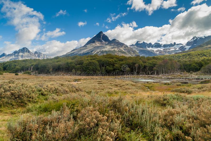 Mountains at Tierra del Fuego stock photography