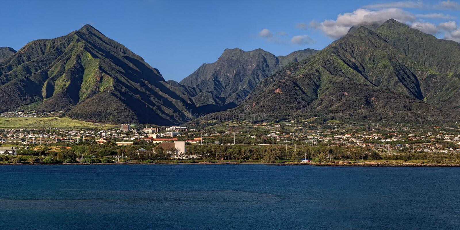 Mountains Tower Over Kahului, Maui Royalty Free Stock Photography