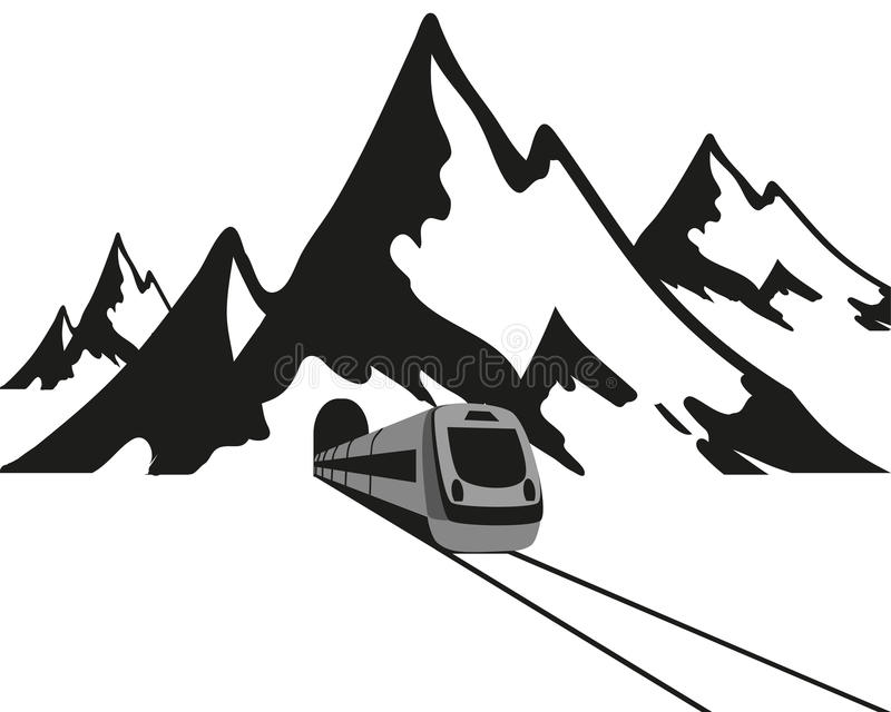 Mountains and the train leaves the tunnel, black logo on a white background, vector illustration. Mountains and the train leaves the tunnel, black logo on a royalty free illustration