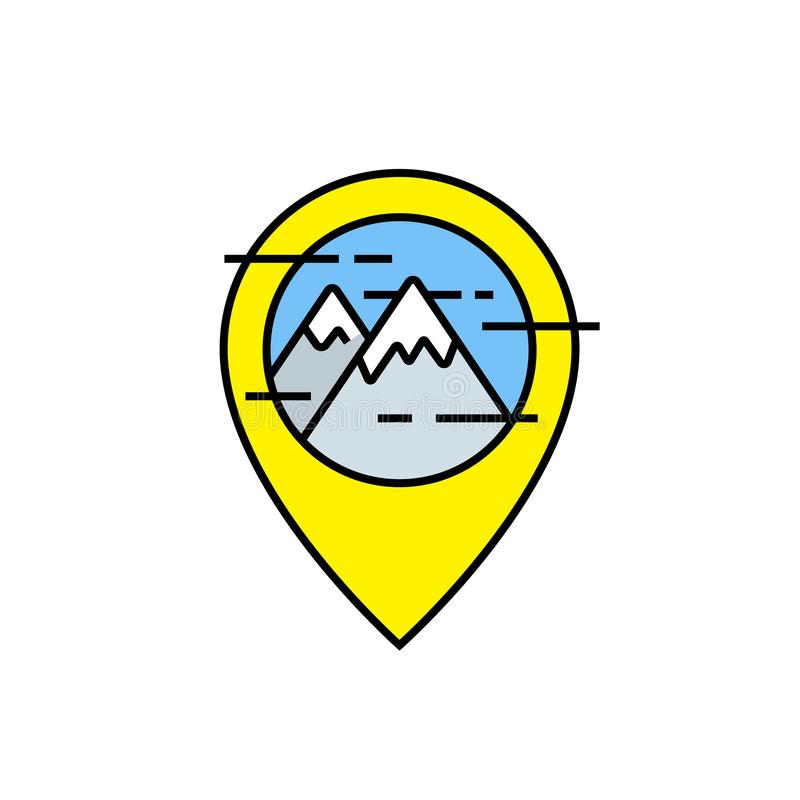 Mountains travel line icon. Outdoor navigation marker symbol. Yellow GPS map pin with mountain peak sign. Vector illustration stock illustration